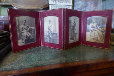 Red leather travelling photograph frame