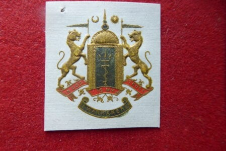 WANKANER. Embossed coat of arms cut from old stationery