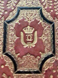 Monogrammed red morocco gilt blotter